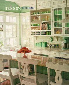 Jadeite green & white kitchen