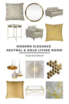 Modern Elegance   Neutral U0026 Gold   Furnishfulu0027s Living Room Ideas    Inspiration Boards