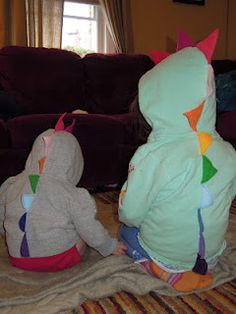 DIY Rainbowsaurus Rex Hoodies!  Here is a tutorial to make these adorable hoodies from a hoodie you might already have on hand.  Simple, and SO CUTE!  at My Raina Sunshine