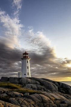 Nova Scotia, where my Mum's side of the family is from. This is the lighthouse at Peggy's Cove. Nova Scotia, The Places Youll Go, Places To See, Rocky Mountains, Atlantic Canada, Parks, Prince Edward Island, British Columbia, Canada Travel