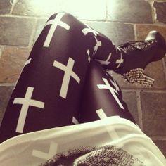 <3 / leggings / tights / crosses / cross / fall / style / winter / fashion / hipster / rocker / fall fashion / fall style / winter fashion / winter style / hipster fashion / hipster style / rocker fashion / rocker style