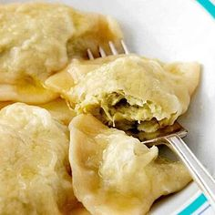 Perfected by her mom, Martha shares an easy recipe for pierogi filled with Yukon potatoes and cream cheese, topped with brown butter. Butter Recipe, Dough Recipe, Cabbage Pierogi Recipe, Pierogi Filling, Pot Stickers Recipe, Cream Cheese Pasta, Cabbage And Bacon, Thing 1, Clarified Butter