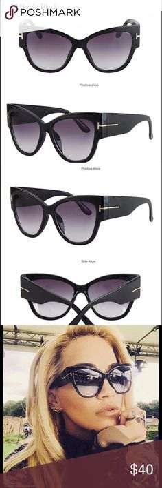 5b6a13f8a92 New Brand Fashion Women Sunglasses Fashion Women Cat Eye Style Sunglasses  Bright Glossy Black New Brand Accessories Sunglasses