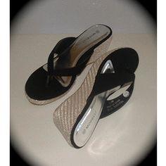 Black wedge summer shoe size 6 for Summer Wedges, Summer Shoes, Flip Flops, Sandals, Stuff To Buy, Black, Fashion, Moda, Shoes Sandals