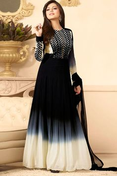 Black Georgette Semi Stitch Designer Dress