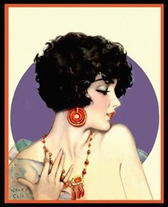 """Henry Clive """"Smart Set Beauty with Purple Circle"""" 1920's"""