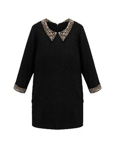439f2c6aa Sale 16% (26.39 ) - Women Plus Size Sequin Peter Pan Collar Slim Dress