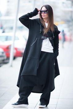 Black Women Harem Pants Black Hooded Zipper Elegant by EUGfashion