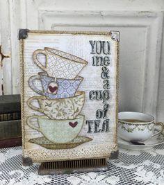 card idea cup cups tea Sizzix Tim Holtz Tea Time Burlap Panel