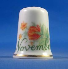 FINE PORCELAIN CHINA THIMBLE - FLOWER OF THE MONTH -- NOVEMBER - FREE GIFT BOX