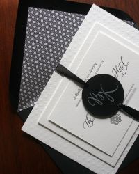 Kristina + Brock's Modern Black and White Wedding Invitations