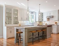 White Kitchen With Gray Island This And