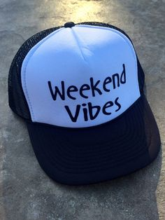 Weekend Vibes   Trucker Hat   Vacay Hat   Summer Hat   Good Vibes   Mom Life Hat   Truckers   Lake Hat    Camping Hat by MelisCarlosDesigns on Etsy