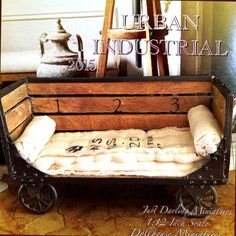 OOAK Vintage Industrial Reclaimed Wood Daybed ~1:12 Inch Scale Dollhouse Miniature by JustDarlingMinis on Etsy