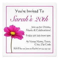 Pink Cosmos Flower Invitation. $2.00 each. Fully Customizable text. #invite #invitation #zazzle