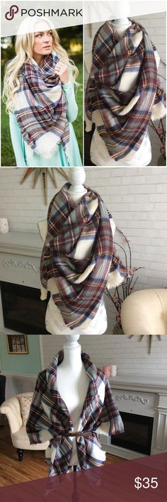 "KENDALL Plaid Blanket Scarf, Super Soft  Super Comfy, beautiful plaid, check, blanket scarf. Measures 60""x55"", very high quality! What you see in MY photos is the EXACT scarf you will receive!!  TᕼE KEᑎᗪᗩᒪᒪ Iᔕ ᐯEᖇY ᐯEᖇᔕᗩTIᒪE ᗩᑎᗪ ᑕᗩᑎ ᗷE ᗯOᖇᑎ ᗰᗩᑎY ᗯᗩYᔕ ᗷᒪᗩᑎKET ᔕᑕᗩᖇᖴ/ᗯᖇᗩᑭ/ᔕᕼᗩᗯᒪ/ᑭOᑎᑕᕼO/KOᗰOᑎO Accessories Scarves & Wraps"