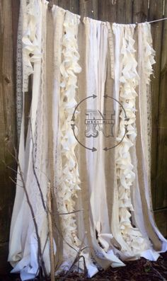 Rustic Burlap Curtains with Lace and Rag Ribbons made with vintage and new…