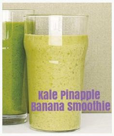 Kale Pineapple Banana Smoothie 1/2 cup coconut milk 2 cups stemmed and chopped kale or spinach 1 1/2 cups chopped pineapple (about 1/4 medium pineapple) 1 ripe banana, chopped Directions  Combine the coconut milk, ½ cup water, the kale, pineapple, and banana in a blender and puree until smooth, about 1 minute, adding more water to reach the desired consistency. Add 1 tsp spirulina for an energy boost!