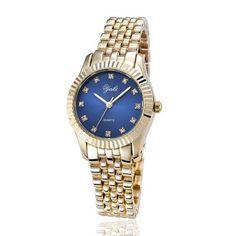 Neu Damenuhr Damen Gold Armbanduhr Analog Quarz Uhr Quarzuhr Blue Luxus