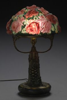 Puffy  Lamp   | Pairpoint Puffy Roses Lamp, - Cowan's Auctions