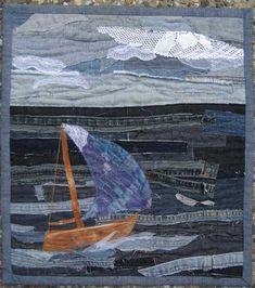 Textile Art Quilt by Bekahdu. Fabric Postcards, Fabric Cards, Jean Crafts, Denim Crafts, Denim Art, Denim Ideas, Grey Quilt, Textiles, Landscape Quilts