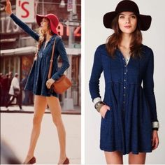 """Free People // Chambray Shirt dress Cotton jersey skin denim shirt dress. Baby doll fit. Snap down front. Length 32.75"""" bust 38"""" waist 38"""" super cute. In perfect condition. Re-poshing because It just didn't fit me.  it's gorgeous. Sold out on fp. Size small. May consider swapping for Free People dresses, slips, or tunics.  Free People Dresses Mini"""