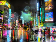 tokyo at night, beaming with neon colors