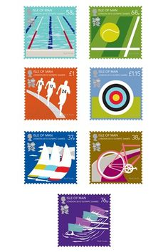 Paul Smith designs for the 2012 Olympics commemorative stamps, love them! Postage Stamps Uk, Postage Stamp Design, Art Postal, Commemorative Stamps, Come Undone, Print Layout, Cartoon Network Adventure Time, Sports Art, Shape Design