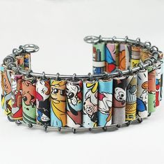 Paper Bead Jewelry Upcycled Disney Comic Book Bracelet by Tanith
