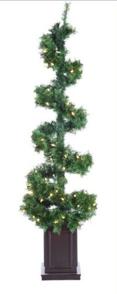 5' Pre-Lit Helix Spiral Potted Artificial Topiary Tree - Clear Lights