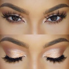 joli maquillage yeux marrons en amande, maquillage en orange doré