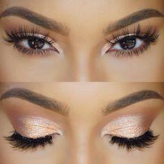 joli maquillage yeux marrons en amande, maquillage en orange doré