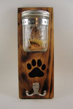 dog leash treat holder mason jar wall mount by EnchantingGardenArt