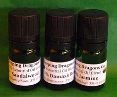 Jasmine, Damask Rose, Sandalwood Essential Oils, 3 Healing Aromatherapy Blends #SleepingDragonsCompany