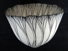Vessel, Black and White Petal Sequence by Cheryl Malone - pottery Pottery Bowls, Ceramic Pottery, Pottery Art, Ceramic Clay, Ceramic Bowls, Stoneware, Earthenware, Clay Bowl, Keramik Vase