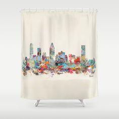 Montreal+Quebec+skyline+Shower+Curtain+by+Bri.buckley+-+$68.00