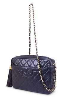Chanel Lambskin Tassel Shoulder Bag Navy Vintage
