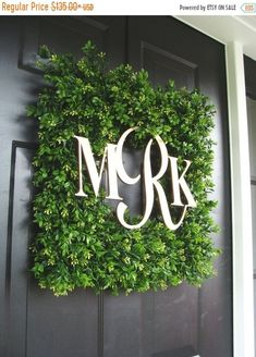 JULY SALE Square Monogram Boxwood Wreath, Boxwood Monogram Wreath, Outdoor Spring Wreath, Housewarming Gift, Wedding Wreath 20 Inch show Front Door Decor, Wreaths For Front Door, Door Wreaths, Front Doors, Wedding Wreaths, Wedding Decorations, Diy Décoration, Diy Crafts, Diy Spring