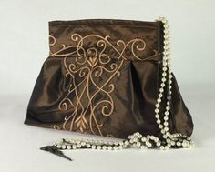 Taffeta Pouch/ Stunning Brown Embroidered by supplierofdreams, $39.00