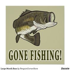 Large Mouth Bass Poster Gone Fishing, Bass Fishing, Irony Humor, Cute Room Ideas, Largemouth Bass, Where The Heart Is, Custom Posters, Artwork Design, Custom Framing