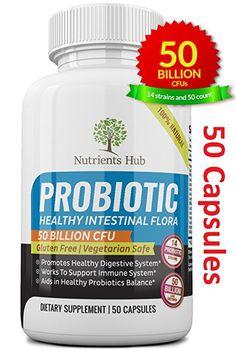 Amazon.com: Nutrients Hub Probiotics 50 Billion CFUs 14 Strains, #1 High Potency Organic Probiotic Supplement   All Natural, Gluten Free, NON-GMO Vegan Flora Digestive Probiotics for WOMEN MEN KIDS (30 Capsules): Health & Personal Care