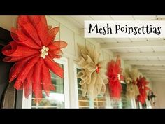 DIY mesh poinsettias are great Christmas decor because you can hang them inside or outside and customize the colors to match your Christmas style. Poinsettia Wreath, Christmas Poinsettia, Christmas Flowers, Christmas Crafts, Crochet Christmas, Christmas Bells, Christmas Angels, Flower Wreaths, Christmas Tree