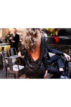 Gemma- All Black Sequin Dress With Drape Back