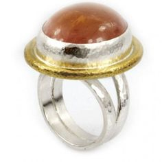 Sterling Silver layered with 24K Gold Cabochon Quartz Ring by GURHAN