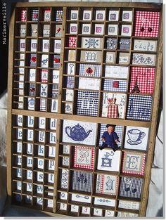 Casier d'imprimeur garni by Marimerveille Loves, via Flickr Love Sewing, Hand Sewing, Letterpress Drawer, Printers Drawer, Art Du Fil, Thread Art, Sewing Rooms, Shadow Box, Needlepoint