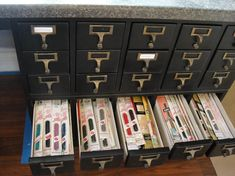 Sewing: Recycled Card Files for Sewing Storage