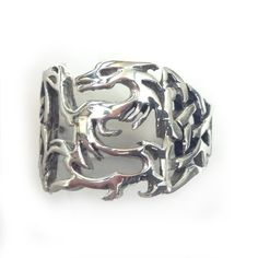 Want an unusual and eye catching ring, wearable by both men and women?  Check out this Sterling Silver Carved Celtic Dragon Ring  Dragon cutout bracketed by Celtic weave designs 17 mm at widest point Polished band tapers to 4 mm.  This and other fine jewelry available from Aquarius Girl Jewelry on Amazon!