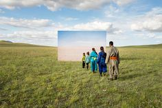 """Futuristic Archeology"", photos by Korean photographer Daesung Lee about the desertification of Mongolia, and the rapidly changing environment's affect on the traditional Mongolian nomadic lifestyle. The series was created using printed images on a giant billboard."