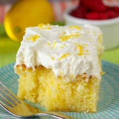 Drenched Lemon Cream Cake: super easy and quick lemon cake drenched in lemon syrup and topped with freshly whipped cream.
