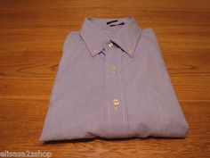 Men's Tommy Hilfiger long sleeve dress shirt 17 32-33 slim fit plaid blue NEW